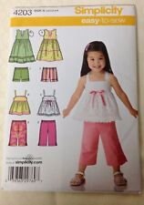 SIMPLICITY Easy to Sew Dress, Pants, pattern #4203 Toddler Size 1/2-4 UNCUT