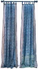 "BLUE TURQUOISE Sari curtain, semi sheer panel, India window, handmade 96"""