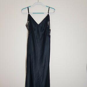Vtg Victoria's Secret Collection Long Black Slip Dress Nightgown Lingerie