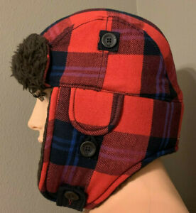 Hollister Unisex Adults HCO Classic SOCAL Plaid Trapper Hat Red Plaid