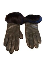 Grandoe Black Genuine Leather Faux Fur Cuff Womens Gloves Size 7 (Small) Vintage