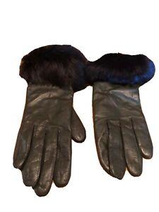 Grandoe Black Genuine Leather Faux Fur Cuff Womens Gloves Size 7 (Small) Vintage