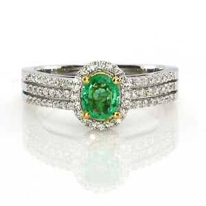 Real 0.82ct Natural Green Emerald & Diamonds Engagement Ring 18K Solid Gold