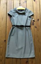 NWT $138 Tahari Arthur S Levine 10 black white belted fitted 60's style dress