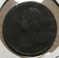1899 Great Britain Queen Victoria One Penny Coin VF/XF Condition