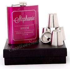 Engraved 7oz Pink Wedding Hip Flask Gift Set Personalised Bridesmaid Present