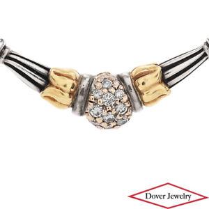 LAGOS Caviar Diamond 18K Gold Sterling Silver Tulip Slide Pendant 9.7 Gr NR