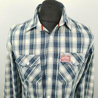 Superdry Mens Shirt LARGE Long Sleeve Blue SLIM FIT Check Cotton