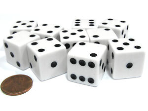 Set of 10 Large Six Sided Square Opaque 19mm D6 Dice - White with Black Pip Die