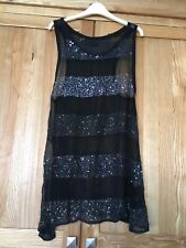 All Saints Black Sequin Dress Sheer Small