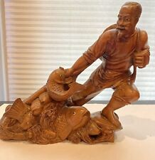 Chinese Antique Carved Figure Of Fisherman
