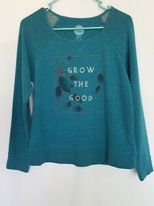 Life is Good Women's Grow The Good Leaf Blue Marled Terry Crew Sweatshirt (A