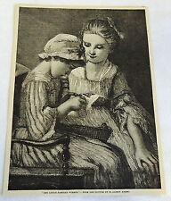 1883 magazine engraving ~ THE LITTLE SAMPLER WORKER ~ M. Albert Anker