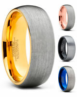 Men's Tungsten Carbide Wedding Band Ring Dome Brushed Comfort-Fit 8MM