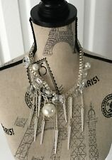 MASSIVE NECKLACE w DANGLING PEARLS 18 IN w DESIGNER QUALITY-UNUSUAL & STRIKING