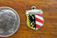 Vintage silver NURNBERG NUREMBERG GERMANY CREST FLAG TRAVEL SHIELD charm