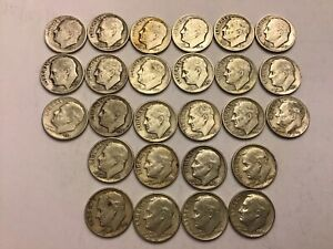 Silver Roosevelt Dimes - 1946 To 1964 - Lot Of 26