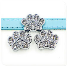 5pcs 8mm crystal dog print  slide charms for 8mm pet collar or wristbande SL184