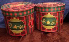 Set of 2 Round Christmas Holidays storage Boxes.