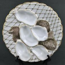 """Antique TURKEY Oyster Plate - FISHNET - 5 wells, 8.5"""", Gold scalloped edge"""