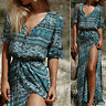 Women Off Shoulder Strapless Floral Slit Ladies summer Beach Long Maxi Dress NEW