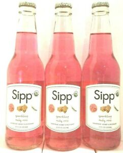 Sipp Sparkling Ruby Rose ( Grapefruit,Honey&Rosemary ) 12 oz ( Pack of 3 )