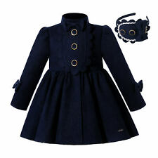 Kids Girls Christmas Party Warm Dress Coat Winter Parka With Bow Outwear Blue