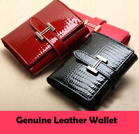 Crocodile Style Women Lady Purse Genuine Leather Calfskin Trifold Small Wallet