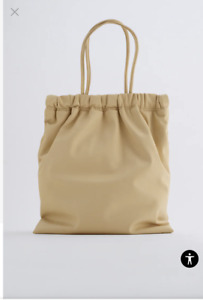 ZARA TOTE BAG WITH GATHERED OPENING BEIGE NEW WITH TAGS