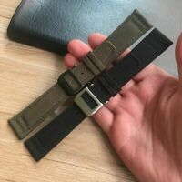 20 21 22mm Green Black Nylon Leather Watch Strap Canvas For IWC Wristwatch Bands