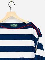 Ralph Lauren Active Sail Club Women's S Navy White Striped Boatneck Casual Shirt