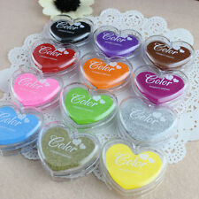 Set Heart Rubber Stamps Craft Pigment Ink Pad For Paper Wood Fabric 12 Colours