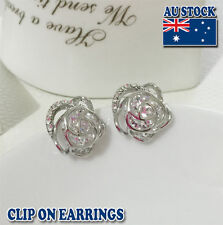 18CT White Gold Plated Pierced Flower Clip On Earrings With Swarovski Crystal
