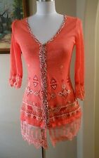 LULUMARI Salmon Pink Sheer Lace Trimmed Embellished Top Size Small S