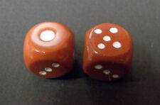 Pair of Dice Gemstone RED JASPER  ~17mm six sided hand carved and painted