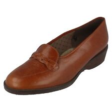 Ladies ESTA Size UK 7 Tan Slip On Leather Shoes with Plait Detail by Equity