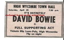 DAVID BOWIE UK TIMELINE Advert - High Wycombe Town Hall Sat 29-4-72 3x2 inches