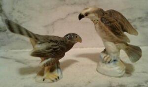 2 Vntg Mini HAWK Falcon Family Birds of Prey Set - Bone China -Figurine JAPAN