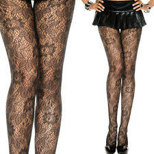 Sheer Black Fishnet Floral Vine Leaf Lace Pattern Panythose Tights Stockings OS