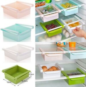 2/4X Fridge Box Can Kitchen Shelf Organiser Cupboard Holder Storage Basket Rack