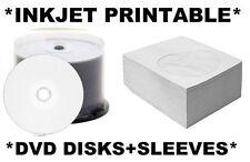 100 x DVD-R DISKS+Paper Sleeves/Covers WHITE INKJET PRINTABLE SPINDLE/IJ DVDR