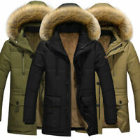 Men's Down Jacket Warm Thick Fur Collar Outerwear Hooded Coat Casual Plus Size