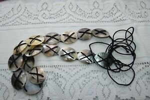 JEWELLERY LOVELY LADIES VINTAGE BELT ABALONE SHELL OVAL LINKS 153