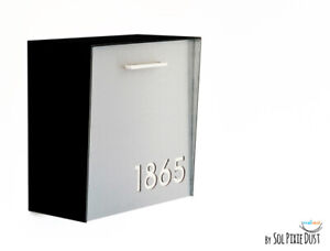 Modern Mailbox Aluminum Silver Face, Black Body, White Acrylic numbers, Type 1