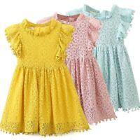 Floral Lace Casual Girl Dress Summer Sundress Children Dresses Kids Clothes Wear
