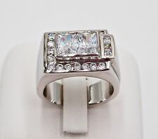 925 STERLING SILVER MEN RING SIZE 7.75 CUBIC ZIRCONIA CZ HIP HOP BLING SQUARE CZ