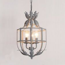 French Country Style Metal Chandelifer E14 Light Aged Gray Finish Ceilling Lamp