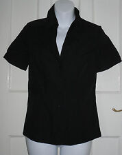 NEXT WOMENS   BLACK COLLARED SHORT SLEEVE TOP Size:6/34(WT19)