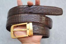 Dark Brown Genuine Alligator, Crocodile Leather Skin Men's Belt #TL0420