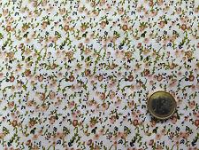 coupon  tissu  PUR coton fond  BLANC FLEURI MARRON BEIGE : 3.00 m ; Ref MAG  6